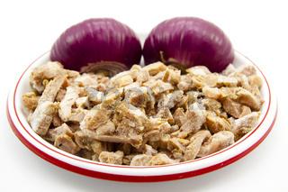 Geschnittenes Hähnchen Fleisch mit Zwiebel