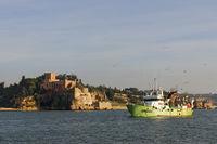 Castelo de S João do Arade and fishing boat in Fer