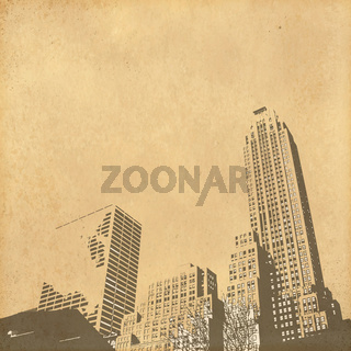 grunge image of cityscape from old paper