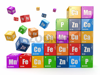 Chemistry concept. Wall from cubes wiyh periodic table of element.