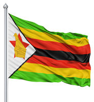 Waving flag of Zimbabwe
