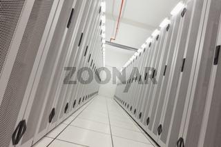 Empty hallway of tower servers