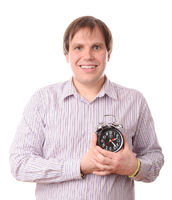 Man with clock near heart