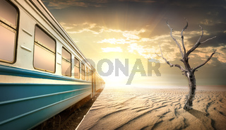 Railway station in desert