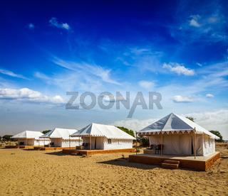 Tourist tent camp in desert. Jaisalmer