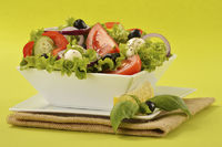 Vegetable salad bowl on green background