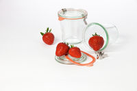 Mason jars and strawberries