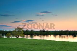 calm sunset over river Ijssel, Netherlands