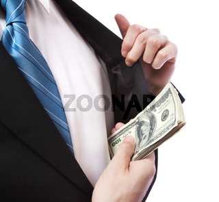 Business Man with Wad of Cash in his Jacket Pocket