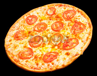 pizza with tomato circles, isolated