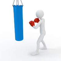 Boxer boxing with punching bag. 3d concept illustration on white background