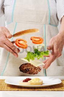 Making hamburger ingredients concept