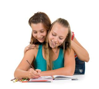 Two teenage girls  paint