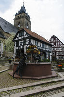 Alte Wache and fountain, City of Wolfhagen, Germany