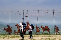 Spain: Pilgrims at the Alto del Perdon