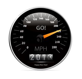 speedometer with 2013 counter in vector