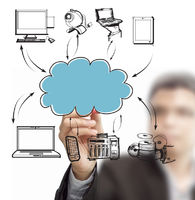 Businessman drawing cloud network on whiteboard
