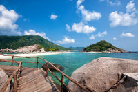 Beautiful wooden pier in Ko Nang Yuan island