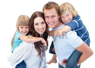 Portrait family enjoying piggyback ride against a white background