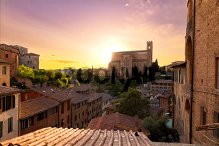 Historical town of Siena with San Domenico, Tuscany, Italy