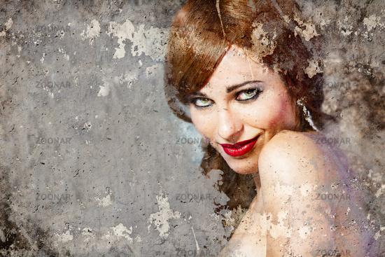 Portrait of beautiful woman over dirty wall, street art