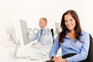 Businesswoman pretty smile sit in office colleague