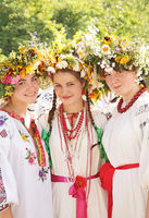 Young girls in ukrainian traditional national cost