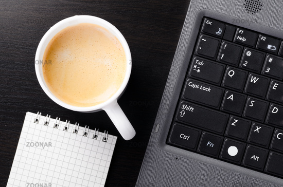 laptop with cup of coffee
