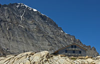 Mountain hut Loetschenpasshuette,Valais,Switzerlan