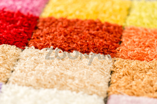 A variety of colorful carpet swatches