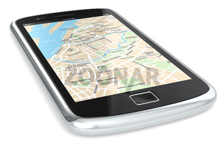 Black Smartphone with a GPS map. City Centre.