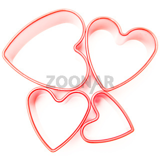 Four heart cookie cutters