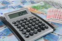 Calculator on Euro banknotes