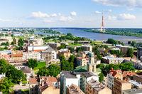 Riga city view river düna