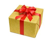 Gold gift box with smart red bow
