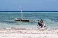 3 boys on a beach bike