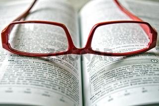 rote Brille auf einem Lexikon