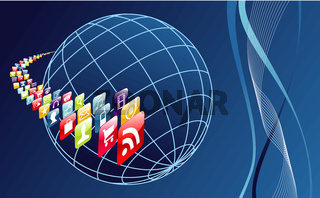 Global mobile phone apps icons arround the world