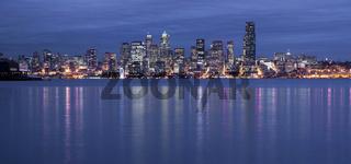 Seattle Waterfront Elliott Bay Night Reflection