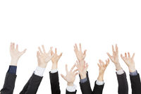 hands up group of business people isolated on whit