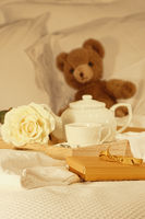 Breakfast in bed tea and gift