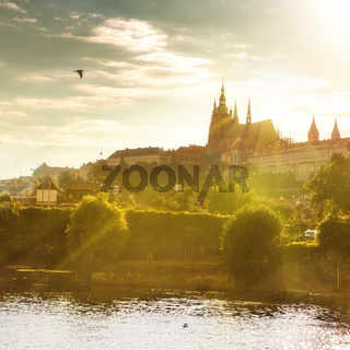 View of Prague castle on sunset