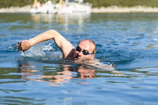 Senior swim on the Croatian coast