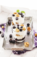 yoghurt dessert with blueberries