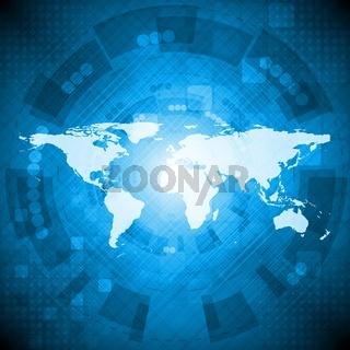 Dark bluetechnology background with world map. Vector illustration eps 10
