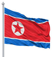 Waving flag of North Korea