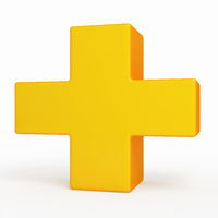 Yelow cross. Medical symbol.