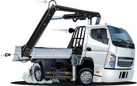 Vector Cartoon Lkw Truck with Crane