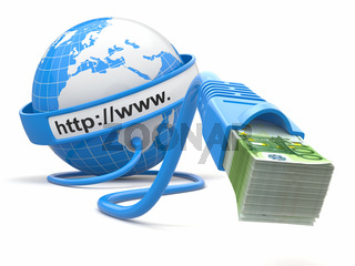Make money online. Concept. Earth and internet cable with money. 3d
