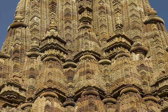 Detailed carving of the spire. Kandariya Mahadeva Mandir in the Western Group of Temples in Khajuraho